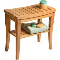 Bathroom Stool 2 Tier Bamboo Side Seat Wooden Bench with Storage Shelf for Indoor Living Room Bedroom Bathtub, 47.5 x 26 x 44.5 CM