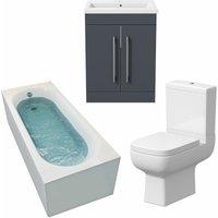 Affine - Bathroom Suite 1500 x 700 Single Curved Bath Toilet Basin Sink Vanity Unit Grey