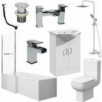 Affine - Bathroom Suite 1500mm L Shape LH Bath Screen and Rail WC Basin Vanity Unit Shower