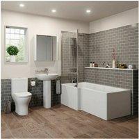 Affine - Bathroom Suite 1500mm Left Hand L Shape Shower Bath Toilet Basin Sink Pedestal