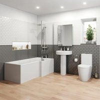 Affine - Bathroom Suite 1500mm Right Hand L Shape Shower Bath Toilet WC Basin Pedestal