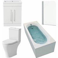 Affine - Bathroom Suite 1600 x 700mm Bath Shower Screen Toilet Basin Vanity Unit White