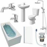 Essentials - Bathroom Suite 1600mm Single Ended Bath Toilet Basin Pedestal Taps Shower Waste