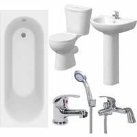 Bathroom Suite 1600mm White Curved Bath Toilet WC Basin Sink Tap Shower Mixer