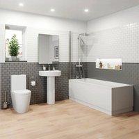 Bathroom Suite 1700 Single Ended Square Bath Close Coupled Toilet Basin Pedestal