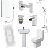 Bathroom Suite 1700mm Double Ended Bath Shower Screen Toilet Basin Pedestal Taps