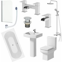 Affine - Bathroom Suite 1700mm Double Ended Bath Shower Screen Toilet Pedestal Basin Taps