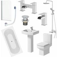 Affine - Bathroom Suite 1700mm Double Ended Bath Shower Toilet Basin Pedestal Taps Screen