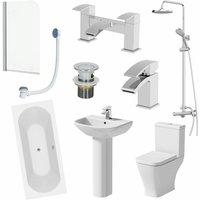 Bathroom Suite 1700mm Double Ended Bath Shower Toilet Pedestal Basin Taps Screen - AFFINE
