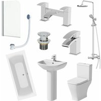 Affine - Bathroom Suite 1700mm Double Ended Bath Shower Toilet Pedestal Basin Taps Screen