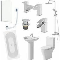 Bathroom Suite 1700mm Double Ended Bath Shower Toilet Pedestal Basin Taps Screen