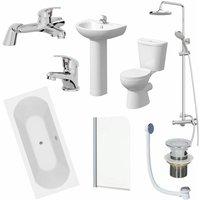 Essentials - Bathroom Suite 1700mm Double Ended Bath Toilet Basin Pedestal Taps Shower Waste