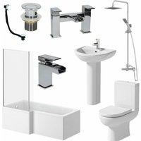 Bathroom Suite 1700mm L Shaped LH Bath Toilet Pedestal Basin Shower Screen Wast - ESSENCE