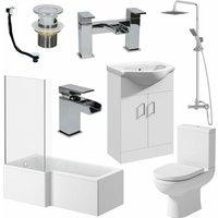 Affine - Bathroom Suite 1700mm L Shaped LH Bath Toilet Vanity Basin Shower Screen Panel