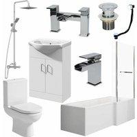 Affine - Bathroom Suite 1700mm L Shaped RH Bath Toilet Vanity Basin Shower Screen Panel