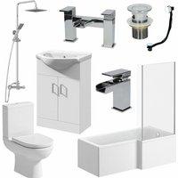 Bathroom Suite 1700mm L Shaped RH Bath Toilet Vanity Unit Basin Shower Tap Waste