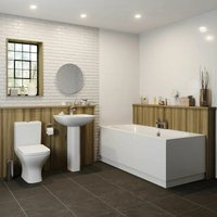 Bathroom Suite 1700mm x 750mm Double Ended Curved Bath Toilet WC Basin Pedestal