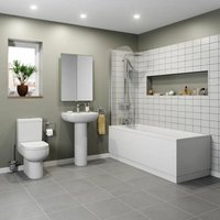 Bathroom Suite 1800 Double Ended Bath Close Coupled Toilet Basin Pedestal White