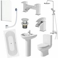 Bathroom Suite 1800 Double Ended Bath Toilet Basin Pedestal Shower Screen Panel