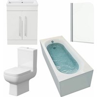 Affine - Bathroom Suite 1800 x 750 Curved Bath Screen Toilet Basin Sink Vanity Unit White