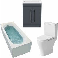 Bathroom Suite 1800 x 750mm Bath Shower Toilet WC Basin Vanity Unit Gloss Grey