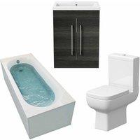 Bathroom Suite 1800mm Single Curved Bath Toilet Basin Sink Vanity Unit Charcoal