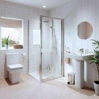 Affine - Bathroom Suite Bifold Shower Enclosure Basin Sink Pedestal Toilet WC 900mm White