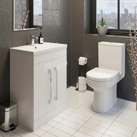Bathroom Suite Close Coupled Toilet 600mm White Vanity Unit Sink Basin Cloakroom