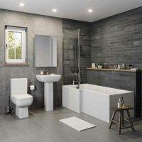 Bathroom Suite Close Coupled Toilet Basin Pedestal L Shaped LH - AFFINE
