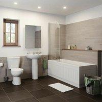Bathroom Suite Close Coupled Toilet Basin Pedestal Single Ended Bath White 1600