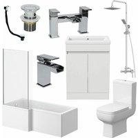 Bathroom Suite Complete LH 1700mm Bath Single Ended Basin Sink Taps Toilet WC