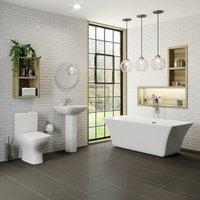Bathroom Suite Freestanding Bath Close Coupled Toilet Basin 1700