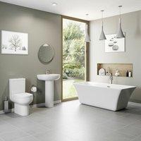 Bathroom Suite Freestanding Bath Close Coupled Toilet Basin