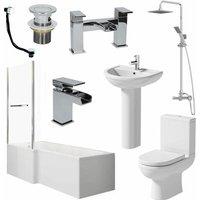 Bathroom Suite L Shaped 1700mm LH Bath Tap Waste Mixer Shower Screen Rail Panel