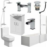 Essence - Bathroom Suite L Shaped Bath RH Screen Toilet Basin Vanity Unit Shower Taps Set