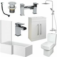 Bathroom Suite L Shaped LH Bath Basin 600mm Vanity Unit Toilet Shower Taps Set