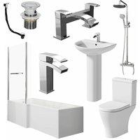 Bathroom Suite L Shaped LH Bath Screen and Rail Panel Toilet Basin Shower Taps Set