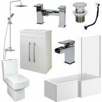 Bathroom Suite L Shaped RH Bath Basin 600mm Vanity Unit Toilet Shower Taps Set