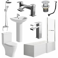 Bathroom Suite L Shaped RH Bath Screen and Rail Panel Toilet Basin Shower Taps Set