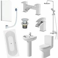Ceramica - Bathroom Suite Shower 1700mm Double Ended Bath Screen Toilet Basin Pedestal Taps