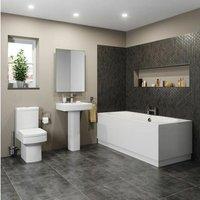 Bathroom Suite Toilet Basin Sink Full Pedestal 1800 mm Double Ended Bath Modern
