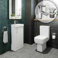 Bathroom Suite Vanity Unit Close Coupled Toilet Basin Tap Set - AFFINE