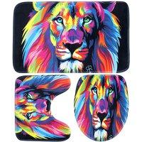 Bathroom Supplies Colorful Lion Waterproof Bathroom Toilet Cover Mat Rug Lion 3Pcs