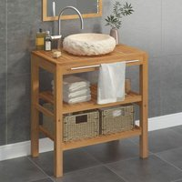 Youthup - Bathroom Vanity Cabinet Solid Teak with Sink Marble Cream