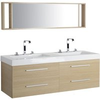 Beliani - Modern Bathroom Vanity Set Light Wood Double Sink Mirror Cabinet Malaga