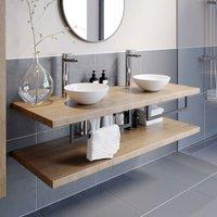Bathroom Wall Hung Floating Shelf Wash Basin Sink Towel Rail Storage Beige 1100
