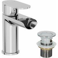 Bathroom Waterfall Mono Basin Mixer Tap Waste Round Lever Handle