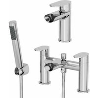 Bathroom Waterfall Mono Basin Sink Mixer Tap Bath Shower Mixer Tap Set Chrome - ARCHITECKT