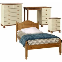 Baypon Cream, White Or Pine Bedroom Furniture Bedside Table, 2+4 Chest Drawers Desk Or Dressing Table And Single Bed Brown