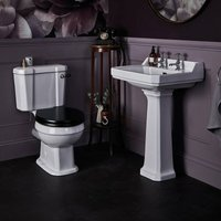 Fitzroy Bathroom Suite Close Coupled Toilet and Basin 560mm 2 Tap Hole - Bayswater